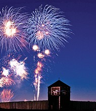 Fireworks light up the sky at Fort Vancouver. The Independence Day Vancouver Fireworks Spectacular will launch for this year's holiday on Wednesday, July 4, starting at 10:05 p.m.