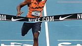 Noah Lyles declares victory during the U.S. Championships Athletics meet.