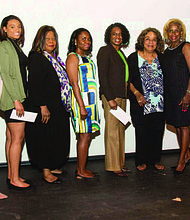 Pictured: Members of the South Suburban Chicago Chapter of the Links presented academic scholarships to Jasmine Carter (3rd from left), Cherise Miskell (5th from left), and Adeline Hodge (6th from left) covering a full year of school for each student at South Suburban College.