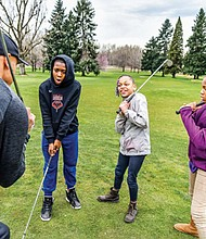 Jamarrion (from left) Za'Nayih and Day'anna get some tips about golf  by participating in a junior golf program sponsored by Portland Parks and Recreation at the Colwood Golf Center on Northeast Columbia Boulevard. Kids can play golf for free on Mondays this summer at Colwood and the Eastmoreland  Golf Course. Tee times are available on a walk-up basis.