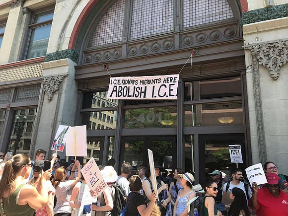 Saturday, June 30, 2018, more than 20,000 people marched across the Brooklyn Bridge in protest against the recent policies made ...