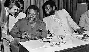Former President of Namibia Sam Njomo and Dr. Theo Ben Gurirab