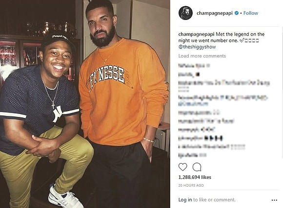 "It's safe to say Shiggy was probably in his feelings when he met Drake. ""Met the legend on the night ..."