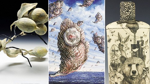 (From left) Virginia McKinney's 'Briney Remains;' Dennis Meiners' imagry on a bottle; and Matteo Neivert's 'Oyster Invasion.'