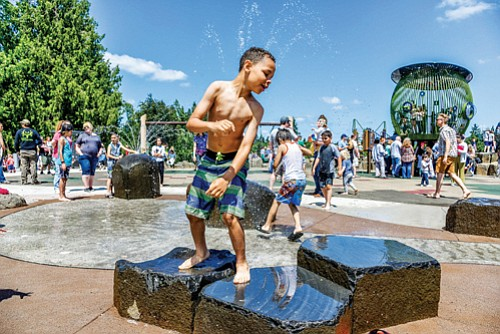Cooling off is so much fun at the new splash pad at Spring Garden Park, located at 3332 S.W. Spring Garden St.  You can keep cool at all Portland Parks & Recreation splash pads, fountains and pools which are open for the summer season.