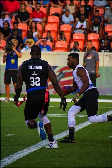 Team Godspeed player James Ihedigbo looking to make a play in the AFFL Championship game