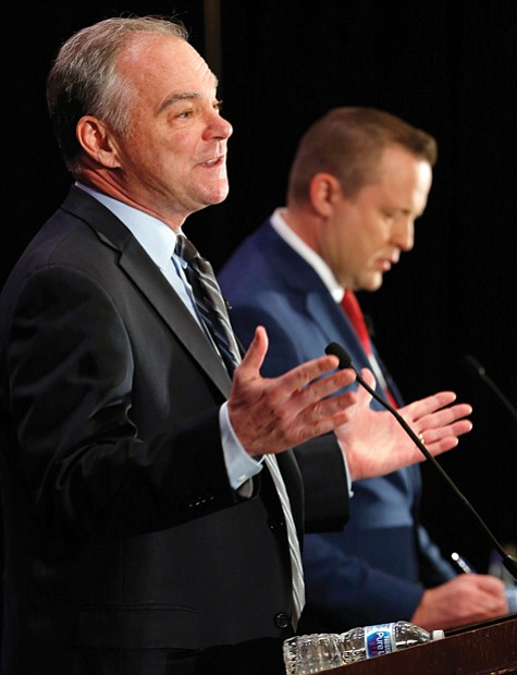Democratic U.S. Sen. Tim Kaine and Republican Corey Stewart, candidates in Virginia's U.S. Senate race, had a quarrelsome first debate ...
