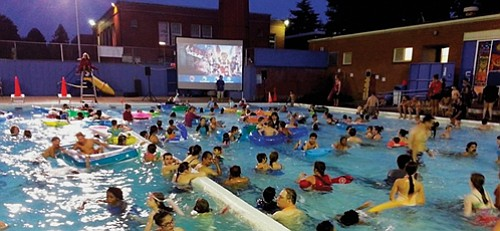 "This month, you can watch the family-friendly classic movie ""Toy Story"" from the pool deck or while floating in the ..."