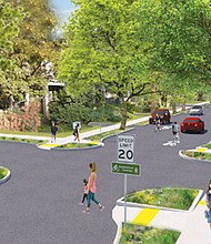 An artist's rendering shows the look of a street designated a greenway to enhance the safety of bike traffic and pedestrians. The King Neighborhood Association wants feedback on a proposed greenway from the Lloyd Neighborhood to Woodlawn.