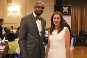 Attorney Vincent F. Cornelius (left) and Victoria McKay Kennison picture Aug. 4 at the Joliet branch NAACP annual Freedom Fund Banquet.