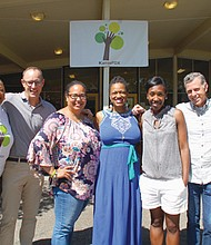 Board members and founders of KairosPDX, a public charter school serving children in the African American community, are disappointed with an offer of a one year lease for the former Humboldt school property at 4915 N. Gantenbein Ave. Pictured (from left) are KairosPDX board members Tiffani Penson and Chris Nelson; school founders Zalika Gardner, Marsha Williams and Kali Thorne-Ladd; and board members Stuart Ellis and Traci Rossi.