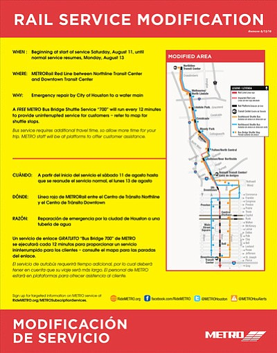 Beginning Saturday, Aug. 11, 2018, METRO will modify rail service on the Red Line to allow City of Houston work ...