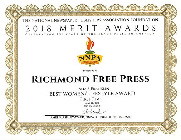 The Richmond Free Press has been recognized with a national award. The Free Press won the Ada S. Franklin Best ...