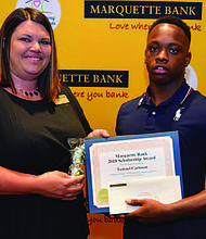 Marquette Bank recently awarded 57 graduating seniors college scholarships of $2,500 each. Scholarship recipient Lemuel Cartman (pictured) from Blue Island, recently graduated from Eisenhower High School and will be using his Marquette Bank Scholarship to attend Valparaiso University in the fall. Photo Credit: Provided by Marquette Bank