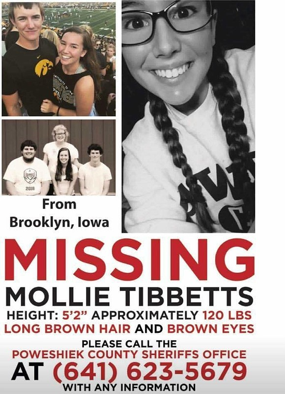 Authorities investigating the disappearance of 20-year-old Mollie Tibbetts announced Tuesday a body has been found in rural Poweshiek County.