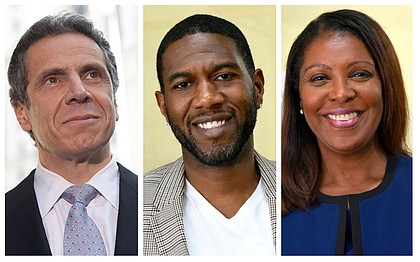 Gov. Andrew Cuomo, Jumaane Williams and Letitia James