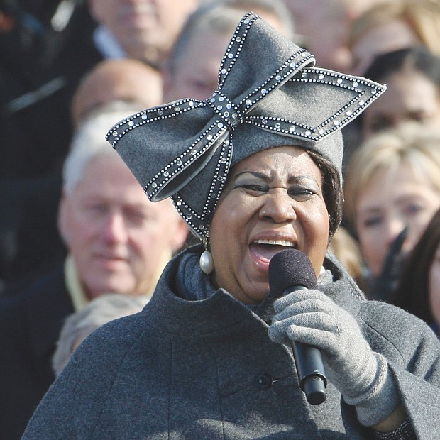 "Ms. Franklin, wearing a signature hat, performs ""My Country 'Tis of Thee"" at President Obama's first inauguration in January 2009 at the U.S. Capitol in Washington."