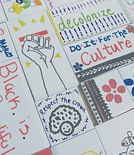 Decorative tiles that reflect positive messages of the black community were hand painted by Portland kids of color and residents of a local senior center for the Urban League of Portland's beautification project.  Graduate art students helped facilitate the completion of the project.