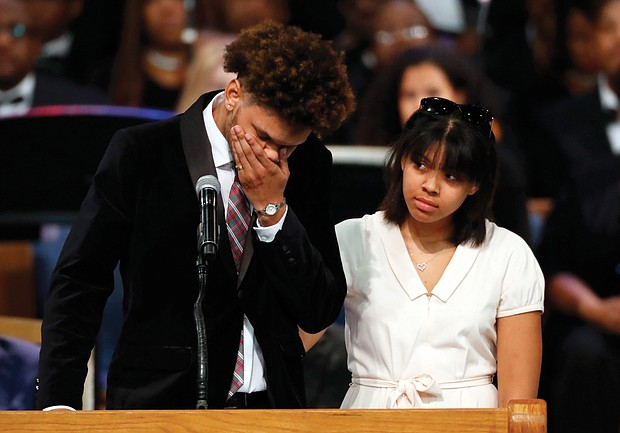 Jordan Franklin breaks down as he and his sister, Victorie Franklin, speak about their grandmother, Aretha Franklin, during her funeral service last Friday.