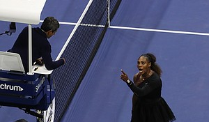 The US Open has fined Serena Williams $17,000 for three code violations during her loss in Saturday's women's singles final, the United States Tennis Association said.  CREDIT: Jamie Lawson/Getty Images for U