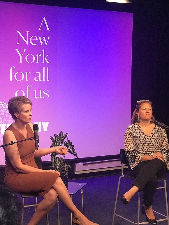Hosted by former City Council Speaker Melissa Mark-Viverito, Nixon spoke with reporters at the Manhattan Neighborhood Network (MNN) El Barrio ...