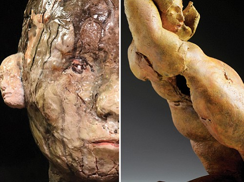 A portrait in clay by Andy Kennedy (left) and Michelle Collier's ceramic work 'Tempest.'