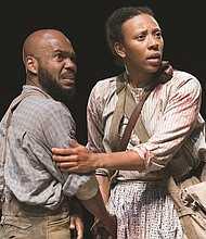 "Martha (Christiana Clark) and Orson (Rodney Gardiner), a formerly enslaved couple, face perils of natural and human origin in 'The Way the Mountain Moved,"" one of the featured attractions at the Oregon Shakespeare Festival in Ashland. Now playing through Oct. 27."