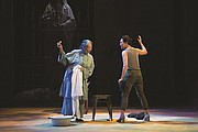"""Mother Cai (Natsuko Ohama, left) and Tianyun (Amy Kim Waschke) share some harsh truths about their pasts in the Oregon Shakespeare Festival's current production of 'Snow in Midsummer,"""" a classic Chinese drama about a young woman who is wrongly executed for a crime she didn't commit."""