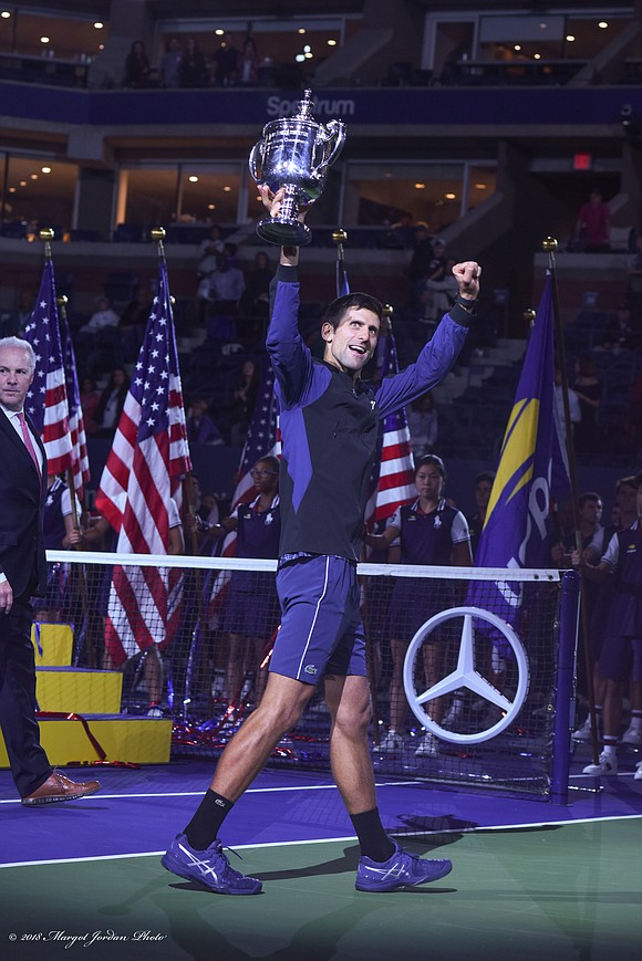 Six-seeded Novak Djokovic won the U.S. Open's men's singles championship title Sunday defeating Juan Martin del Potro, a third seed, ...
