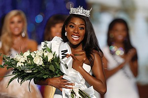 Miss New York Nia Imani Franklin is struck by emotion after being crowned Miss America last Sunday in the competition in Atlantic City, N.J.