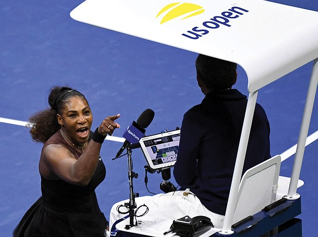 Serena Williams yells at chair umpire Carlos Ramos during the women's final last Saturday of the U.S. Open Tournament in New York.