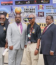 Left to right: Chicago Football Classic Founder Larry Huggins, Darren Benton, Walgreens, Chicago Football Classic Founder Everett Rand and Andre Pattillo, Director of Athletics, Morehouse College.