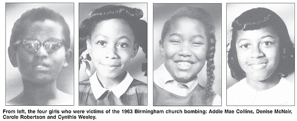 The four girls killed when a bomb placed by Ku Klux Klan members ripped through a Birmingham church in 1963 ...