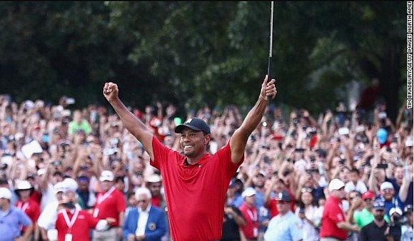 "Tiger Woods says he's ""blessed"" to be back after winning his first PGA Tour event in over five years following ..."