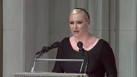 "Meghan McCain, in her return to ""The View"" following the death of Sen. John McCain, remembered her father Monday as ..."