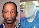 A police booking photo shows comedian Katt Williams (left) after his arrest for assault on a limo driver. 