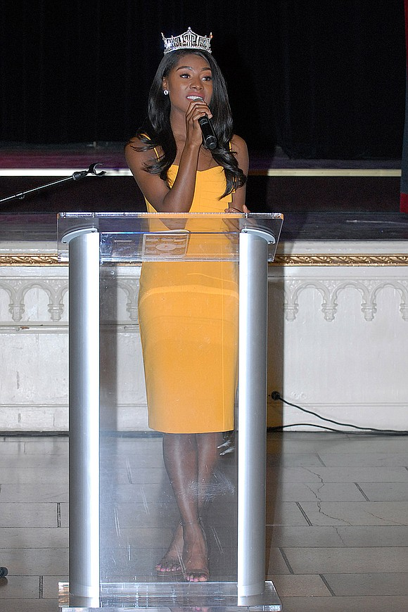 "Simply because ""The Future Is Female,"" Miss America 2019, Nia Franklin, delivered the keynote speech and performed at the fifth ..."