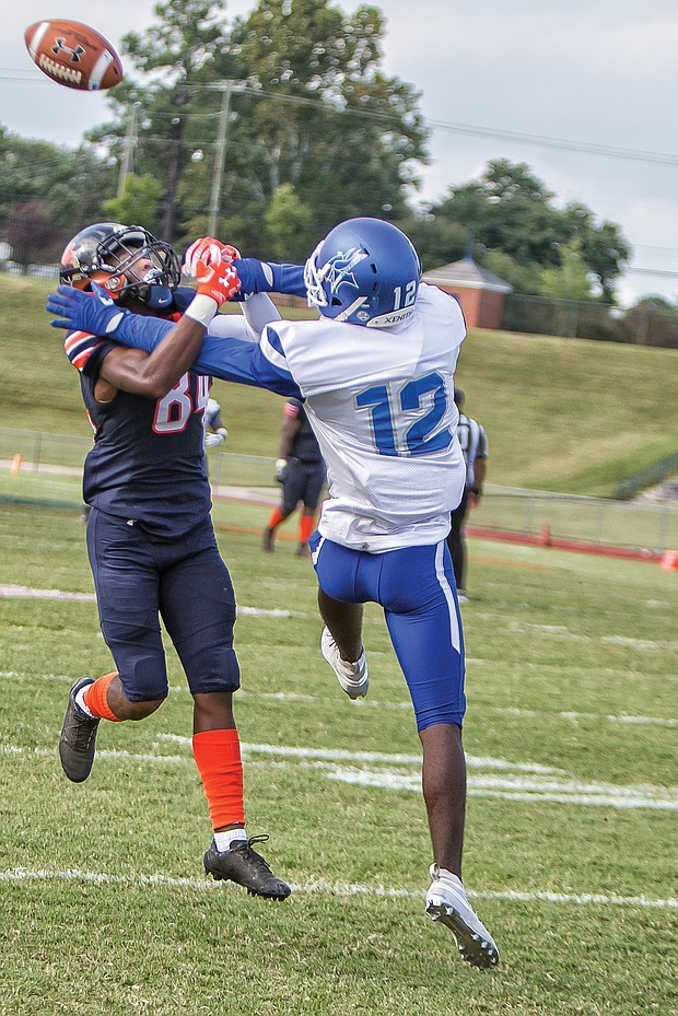 Defensive back Greg Williams Jr., right, of Elizabeth City State University breaks up a pass to VSU wide receiver Jemourri La Pierre at last Saturday's game. VSU went on to win 41-19.