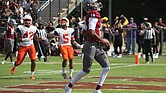 Virginia Union University quarterback Darius Taylor takes the ball into the end zone to score for the Panthers in the record-setting 90-0 homecoming game against Lincoln University of Pennsylvania.
