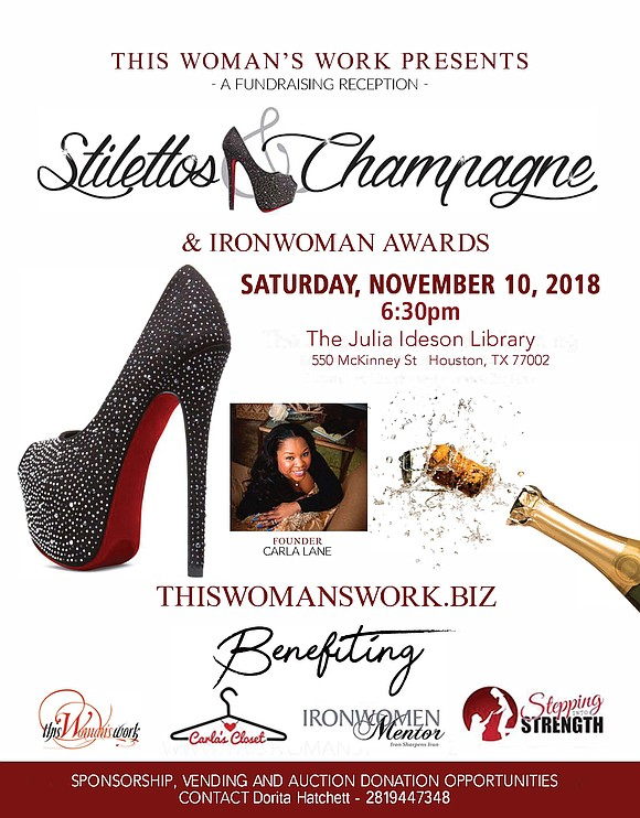 On November 10, 2018, This Woman's Work, a non-profit 501(c)(3), will hold its annual Stilettos & Champagne Fundraising Reception Saturday, ...