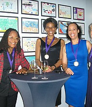 Athletes in attendance at the WHGF gala included (l-r) water skiing world champion Camille Duvall, rugby legend Phaidra Knight, Olympic fencer Sharon Monplaisir, first ever female coach for the NY Jets Collette Smith and first female America's cup captain Dawn Riley.