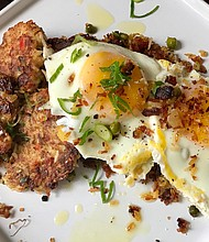 Smoke trout cakes brunch