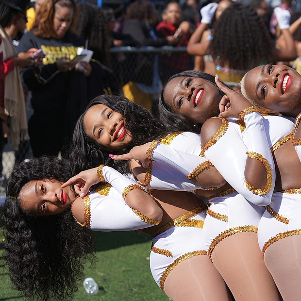 The Bowie State University dancers perform for the fans at last Saturday's homecoming game in Maryland against Virginia State University.
