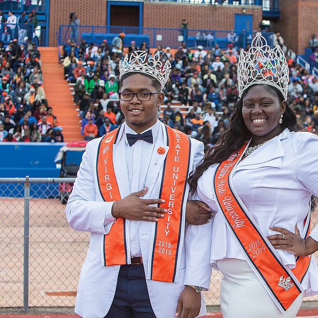 Hundreds of old friends, classmates and their families reunited at Virginia State University last weekend to celebrate homecoming 2018. Mr. VSU and Miss VSU 2018-19, Michael E. Snipes Jr. and Ja'Scotta B. Jefferson are introduced with the royal court during halftime at last Saturday's game against Lincoln University. (James Haskins/Richmond Free Press)