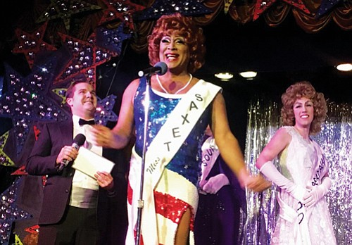 Kevin Cook, aka Poison Waters, stars as Miss Texas in a silly spoof that has men dressed in drag vying ...