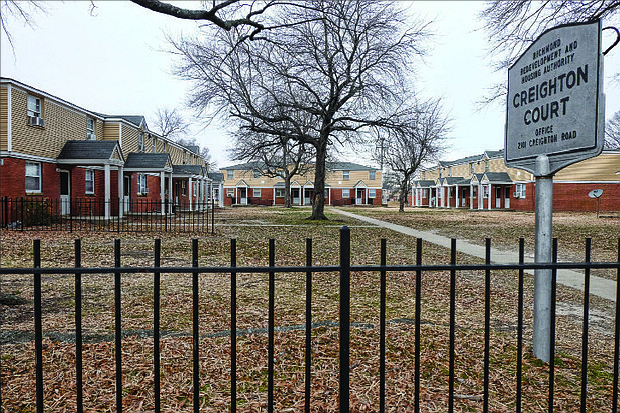 This is a view of a portion of the 504-unit Creighton Court public housing community in the East End that has served low-income and working families since 1952.