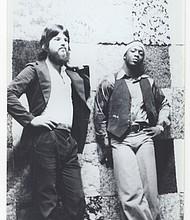Towner Galaher (left) and John Sanders at Mel Brown's Drum Shop.