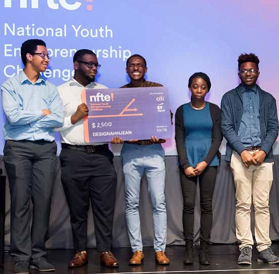 Local Network for Teaching Entrepreneurship students Hasan Lipscomb, Antonio Finley, TyVon Jones, Yetunde Arogundade, Diate Jackson (pictured left to right) recently won $2,500 to support their business idea, DesignAhhJean. Photo Credit: Network for Teaching Entrepreneurship
