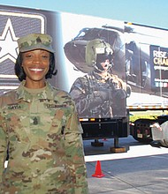 Tabitha Gavia, the first female senior enlisted leader for U.S. Army Recruiting Command at Fort Knox, Kentucky, visits Union High School in Vancouver during her recent stops in the Portland area to visit Armed Forces recruiting stations and local schools.