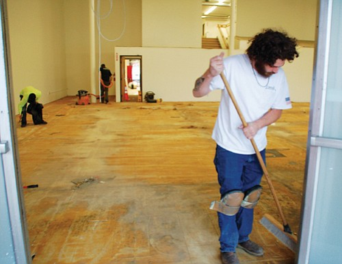 Contractors Monday were preparing space for a new homeless shelter inside the Multnomah County-owned Walnut Park building at the corner of Northeast Martin Luther King Jr. Boulevard and Killingsworth Street.